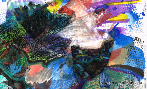 Catlike Image Appears in Landscape; detail of mixed media