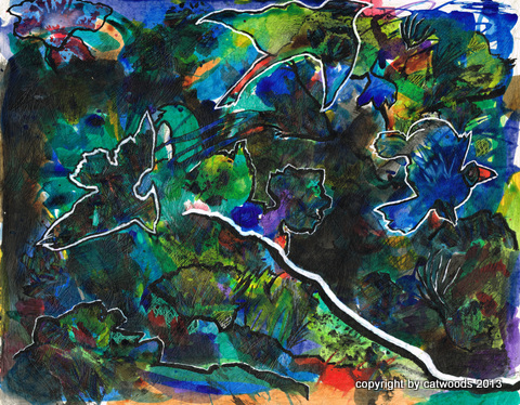 Understory Birds, mixed media, grackle-inspired