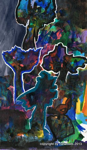 Trees of Edge Forest,  mixed media, collage